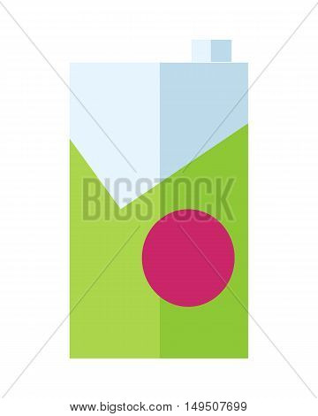 Milk or juice carton packages in flat. Green packaging, box of juice, yogurt, milk, drink. Retail store element. Simple drawing. Isolated vector illustration on white background.