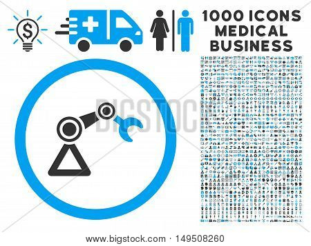 Artificial Manipulator icon with 1000 medical commercial gray and blue glyph pictograms. Design style is flat bicolor symbols white background.