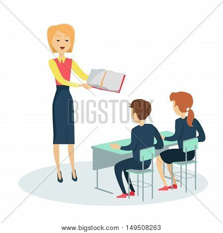 Smiling teacher with textbook in hand before pupils in classroom. Pupils sitting at a school desk. Studying in classroom. Pupils in school uniform. Learning process. Schoolgirl and schoolboy personage