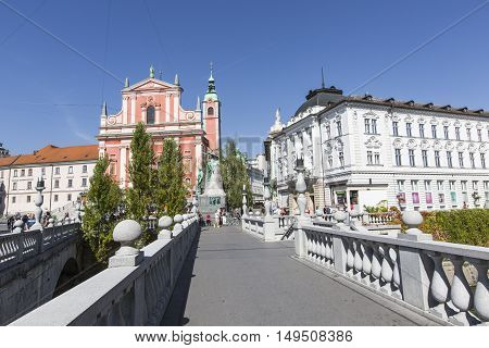 Ljubljana, Slovenia - September 24, 2016: Preseren Square In Ljubljana City. Ljubljana Is A Capital