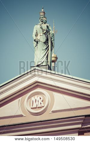 Ljubljana, Slovenia - September 24, 2016: Madonna And Child At The Top Of The Franciscan Church Of T
