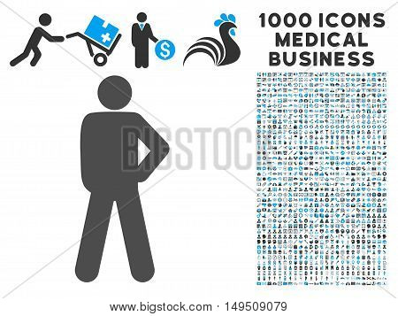 Audacity Pose icon with 1000 medical commerce gray and blue glyph pictograms. Clipart style is flat bicolor symbols white background.