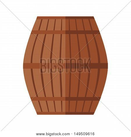 Wooden barrel for wine with steel ring. Wooden barrel icon. Brown wooden oak barrel. Barrel icon. Isolated object in flat design on white background. Vector illustration.