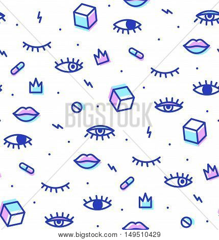 Seamless pattern in the style of psychedelic eyes with his lips. Style offset and multiply. The template for the cover fabric, books. Modern design for a party.
