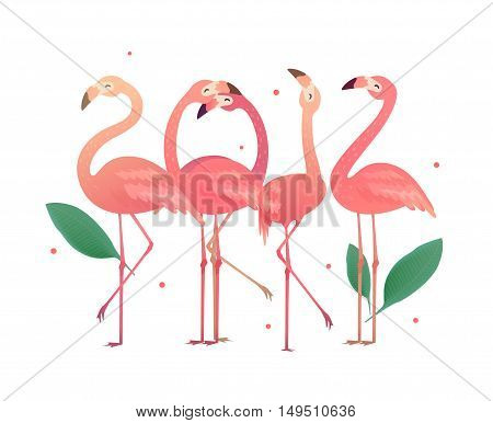 Flamingos in the form of numbers 2017. Birds to the New Year holiday. Tropical new year.