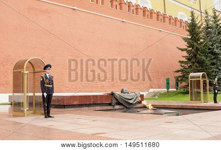 Moscow Russia -September 082016: The Sentry stands at the Eternal Flame at the Tomb of the Unknown Soldier