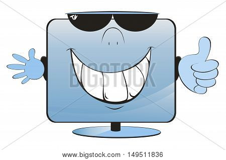 Smiling comic cartoon TV or computer monitor