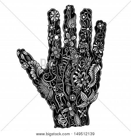 Hand of the beautiful painted flowers. Floral palm, hand drawn zentangle style for our design. Monochrome Vector illustration