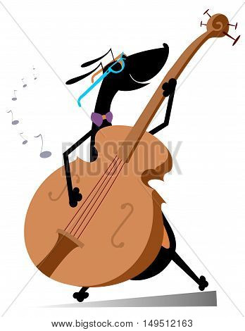 Dog plays on double bass. Cartoon dachshund plays on double bass
