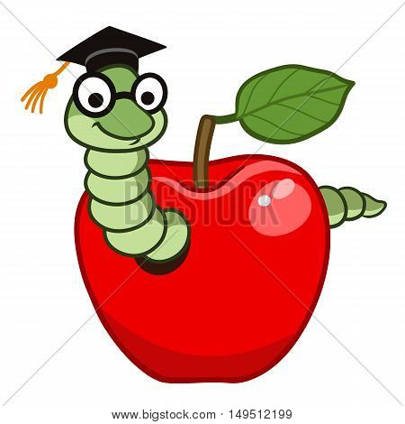 Vector hand drawn cartoon character illustration of a happy friendly bookworm in a red apple wearing graduation cap and eyeglasses. Design element for school education concept.