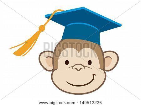 Vector hand drawn cartoon character mascot illustration of a cute happy monkey face in blue mortarboard graduate cap with tassel. Funny humorous graduation concept for school preschool kindergarten