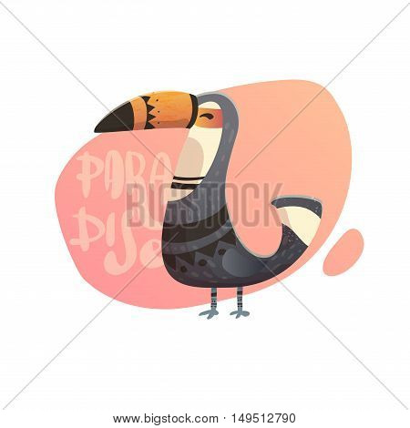 illustration of toucan. Text paradise with wild birds. Toucan with tribal pattern. Print on a T-shirt, cover of the phone.