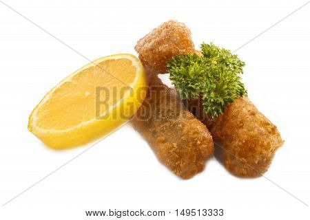 deep fried fish finger made from alaska pollock fish with slice lemon and parsley isolated on white background