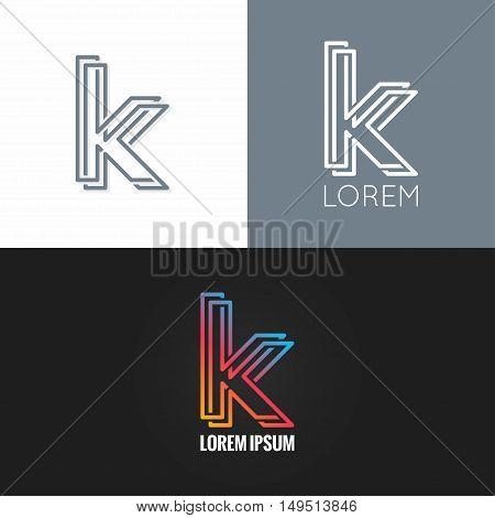letter K logo alphabet design icon set background 10 eps