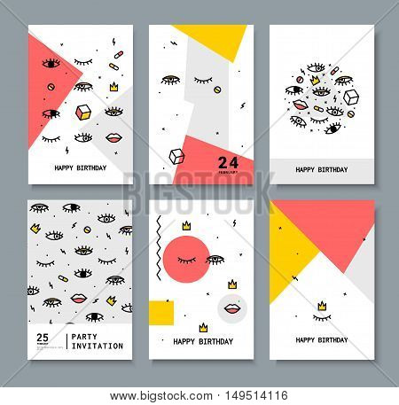 A set of cards for the holiday. Cards with design elements 80 s. Bright eyes and lips for printing on fabric, invitations, parties.