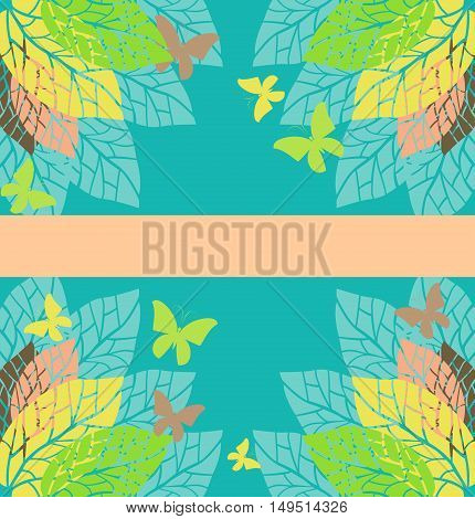 Template greeting cardwith leaves and butterflies. Stock vector illustration