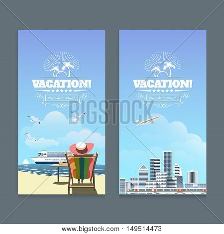Vacation on the beach Sea Shore with woman sitting in a chair, yacht, sandy seashore. Vector Illustration