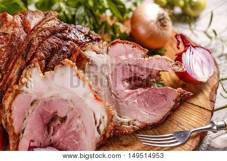 Boiled smoked pork meat spicy gammon, studio shot