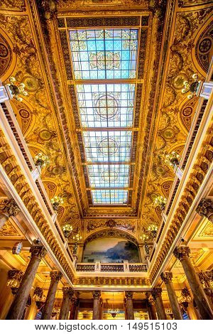 Monte Carlo, Monaco - June 13, 2016: Inner celling of the hall in Monte Carlo casino in Monaco