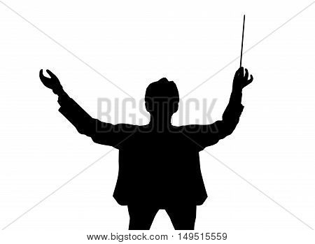 Silhouette of a music conductor back from a bird's eye view. Isolated white background. EPS file available.