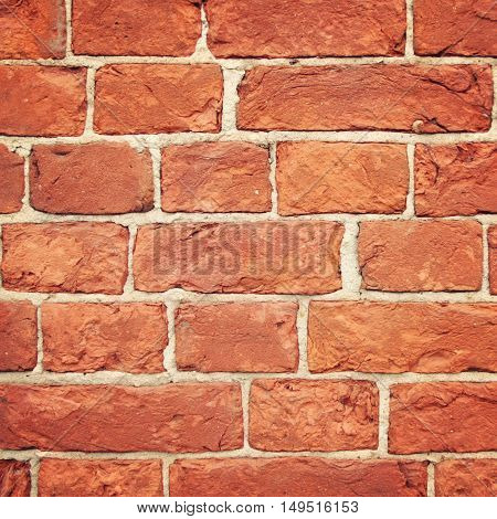 Old weathered brick wall. Macro effect. Bricks texture photo with vintage filter. For background or backdrop. Valaam Republic of Karelia Russia.