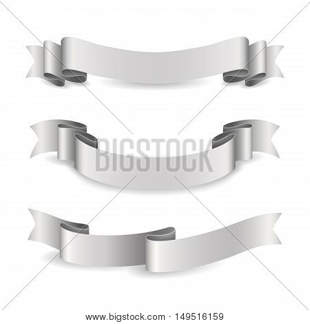 Set of shiny silver ribbons. Vector realistic elements for your design gift card or invitation for holidays. Isolated from the background.