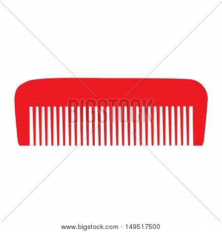Comb , Barber Comb, Red Plastic Comb Vector Illustration