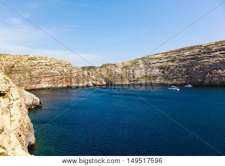 Fungus Rock, General's Rock, entrance to the Dwajra Bay, Gozo, Malta in the sun in summer