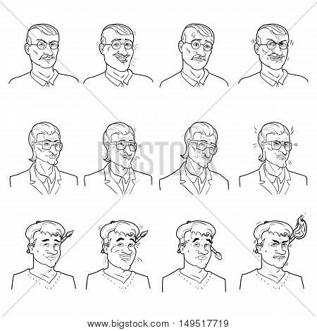 Business emotions avatars set with calmness joy doubt and anger on faces of men isolated vector illustration