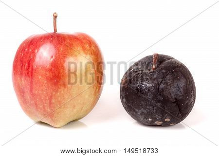 rotten and good apple isolated on white background.