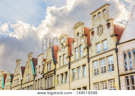 Historical Gables At Principalmarkt In Muenster
