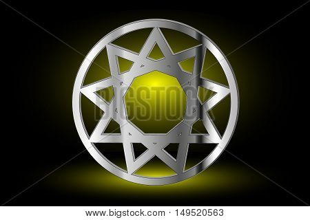Nine pointed star , stars in a circle