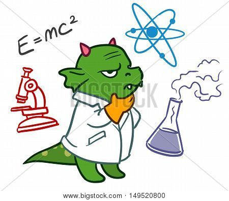 Cartoon vector hand drawn character doodle illustration of a funny green dragon scientist in a lab coat deep in thought with science icons doodles around him isolated on white