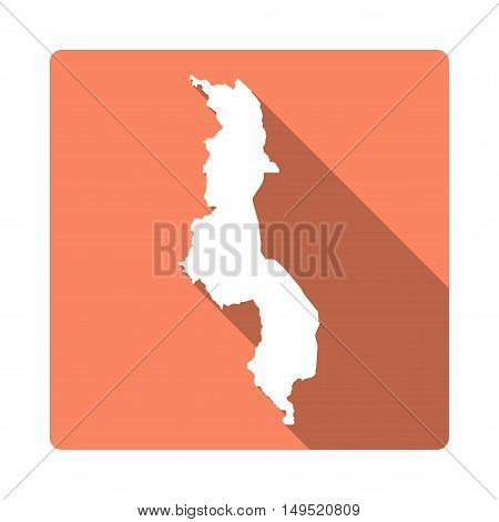 Vector Malawi Map Button. Long Shadow Style Malawi Map Square Icon Isolated On White Background. Fla