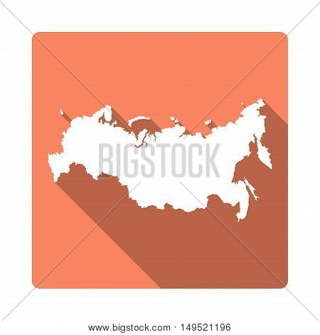 Vector Russian Federation Map Button. Long Shadow Style Russian Federation Map Square Icon Isolated