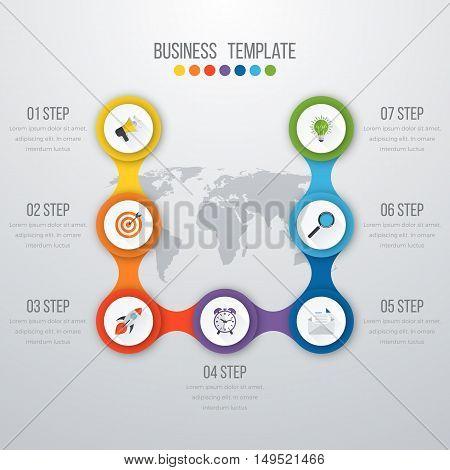 Vector illustration infographics seven options. Stock vector