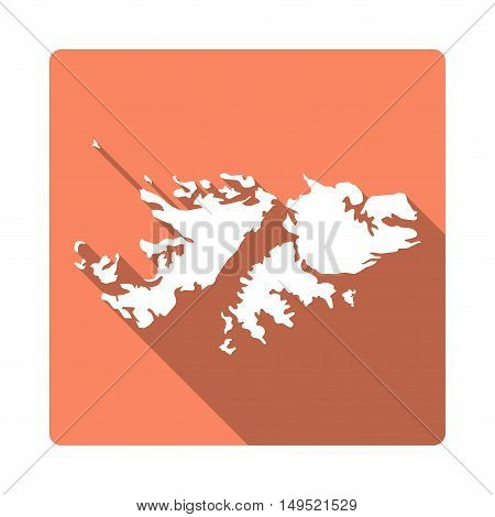 Vector Falkland Islands (malvinas) Map Button. Long Shadow Style Falkland Islands (malvinas) Map Squ