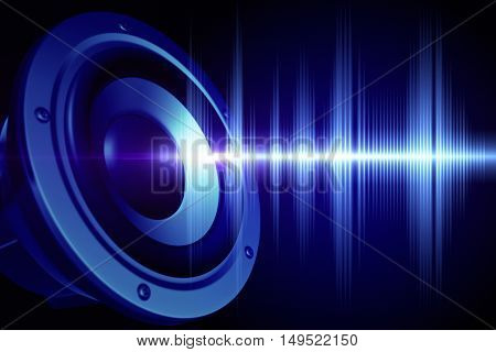 Loud speaker and sound wave. 3D illustration