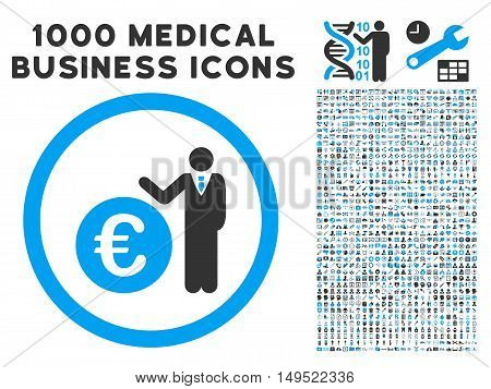 Euro Economist icon with 1000 medical commercial gray and blue glyph pictographs. Set style is flat bicolor symbols white background.