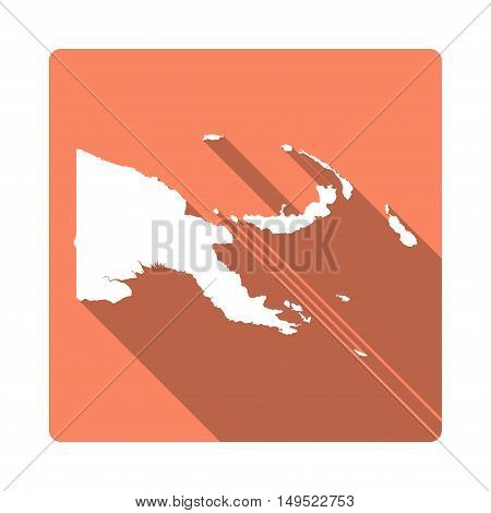 Vector Papua New Guinea Map Button. Long Shadow Style Papua New Guinea Map Square Icon Isolated On W
