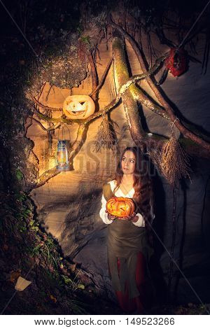 Young Beautiful Witch In Her Cave.