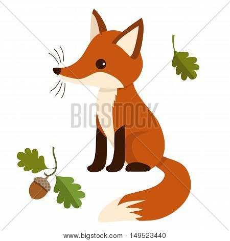 Flat vector illustration of a sitting cute red fox cub with oak leaves and acorn. Wildlife woodland themed contemporary flat paper cutout style design element for print cards stationery.