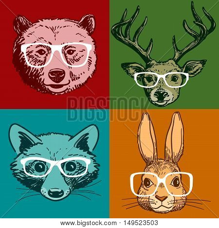 Vector hand drawn line drawing of woodland animal portraits deer bear raccoon rabbit all wearing glasses isolated on colored background. Hipster vintage retro style realistic funny animal faces