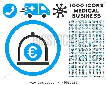 Euro Standard icon with 1000 medical business gray and blue glyph design elements. Design style is flat bicolor symbols white background.