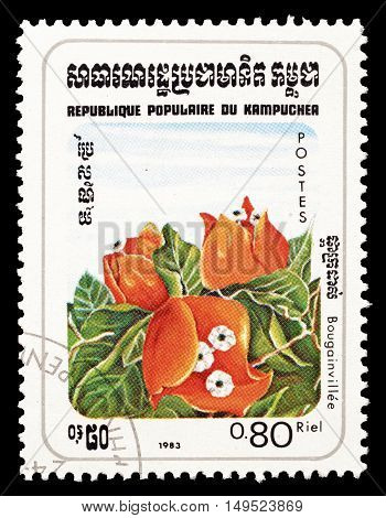 CAMBODIA - CIRCA 1983 : Cancelled postage stamp printed by Cambodia, that shows Bougainvillie flower.