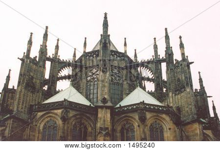The gothic spires of St Vitus Cathedral in Prague Castle. poster