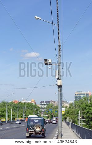 Nizhny Novgorod Russia. - May 19.2016. Surveillance Camera on the road and commit violations of speed limits on Kanavinsky bridge