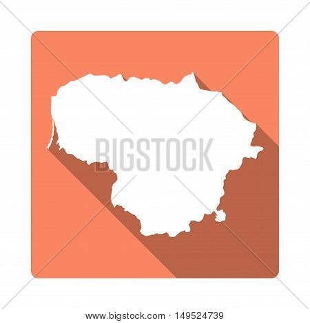 Vector Lithuania Map Button. Long Shadow Style Lithuania Map Square Icon Isolated On White Backgroun