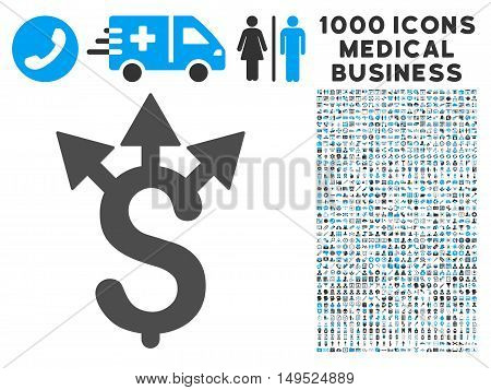Expences icon with 1000 medical commercial gray and blue glyph pictograms. Clipart style is flat bicolor symbols white background.