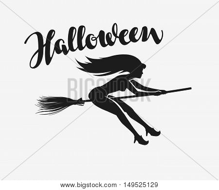 Halloween. Silhouette beautiful witch flying on a broomstick